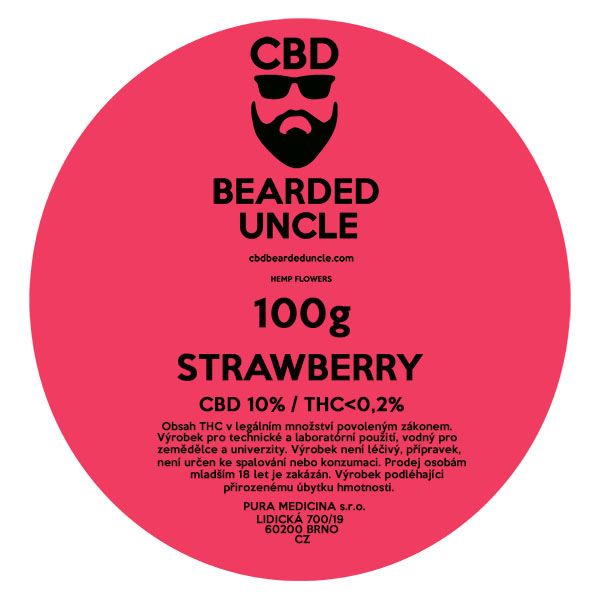 CBD virág weed STRAWBERRY 100g BEARDED UNCLE