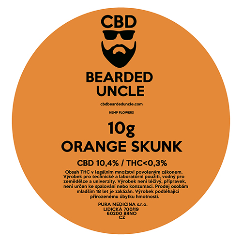 CBD virágok weed ORANGE SKUNK 10g BEARDED UNCLE