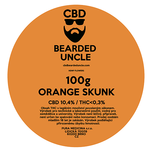 CBD virágok weed ORANGE SKUNK 100g BEARDED UNCLE