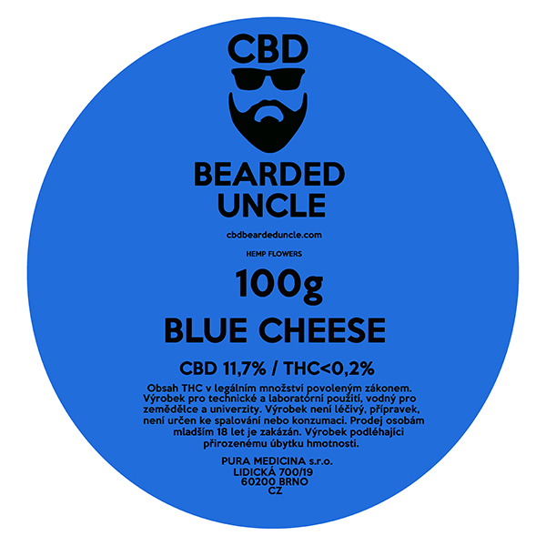 CBD virágok weed BLUE CHEESE 100g BEARDED UNCLE