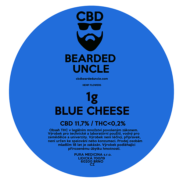 CBD virágok weed BLUE CHEESE 1g BEARDED UNCLE