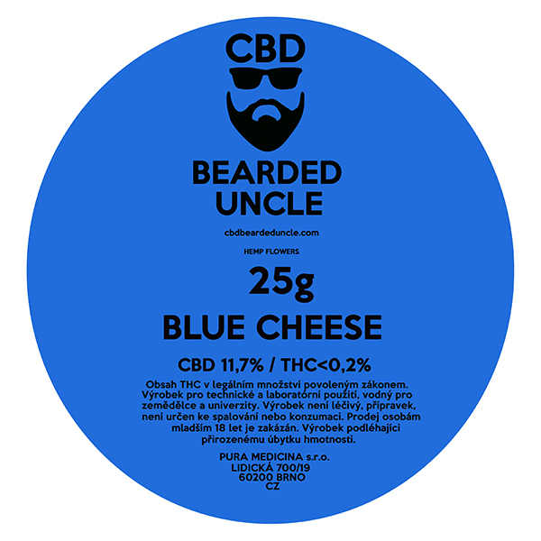 CBD virágok weed BLUE CHEESE 25g BEARDED UNCLE