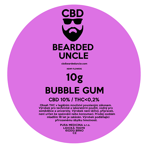 CBD virágok weed BUBBLE GUM 10g BEARDED UNCLE