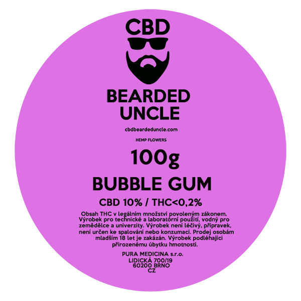 CBD virágok weed BUBBLE GUM 100g BEARDED UNCLE